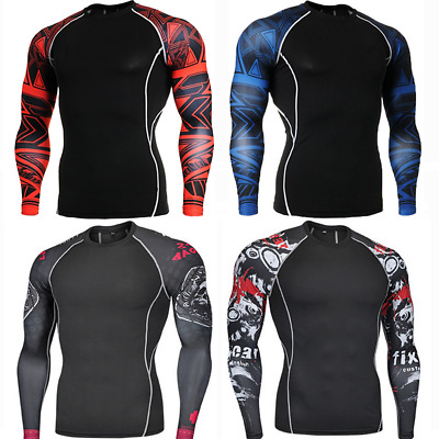 Men's Cycling Base Layer Sports Underwear Long Sleeve Compression Tight T-shirt