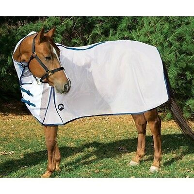 """Weaver All-in-One High Neck Mesh Fly Sheet with UV Protection, White/Navy 78"""""""