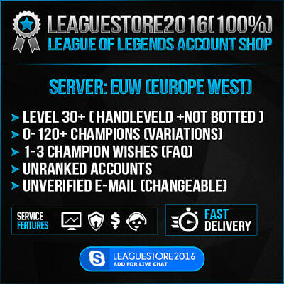 LOL Account League of Legends EUW Smurf Level 30 Unranked Skins Champs