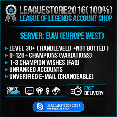 LOL Account League of Legends EUW Unranked All Champs Lvl 30 Smurf Skins Acc