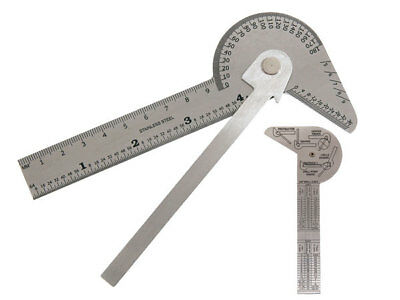 Multi Use Rule & Gauge - Stainless steel - protractor center finder drill point