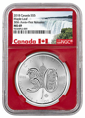 2018 Canada 1 oz Silver Maple Leaf 30th Anniversary $5 NGC MS69 FR Red SKU52886
