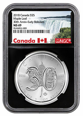 2018 Canada 1 oz Silver Maple Leaf 30th Anniv $5 NGC MS69 ER Black SKU52887