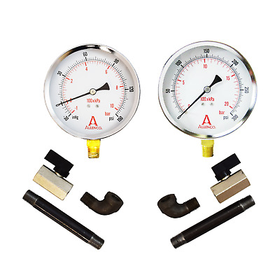 Allenco Fire Pump Suction Discharge Dry Gauge Kit - Negative Vacuum & 0-300 PSI