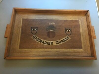 vintage grenadier guards trench art tray 1946 hand made woodern tray