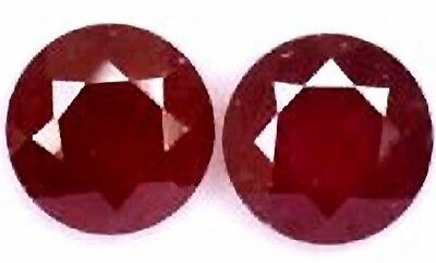 NATURAL BLOOD RED RUBY GEMSTONES LOOSE ROUND CUT PAIR  4 - 4.1 mm. TOP COLOUR
