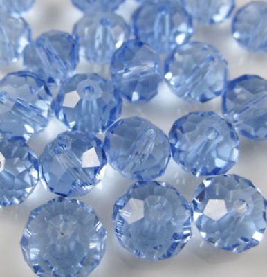 Wholesale Light blue Crystal Faceted Abacus Loose Bead  6*8mm 70pcs