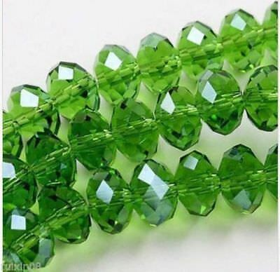 Wholesale green Crystal Faceted Abacus Loose Bead 6*8mm 70pcs
