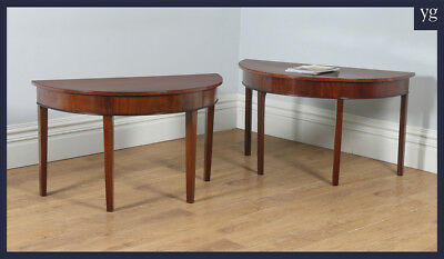 Antique English Pair Two Georgian Mahogany Demi Lune Console Side Hall Tables