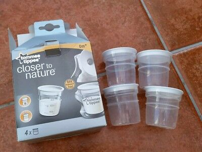 Tommee tippee 8 x milk storage pots and 4 x lids