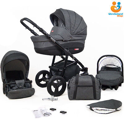 Baby Pram Stroller Pushchair 3in1 Car Seat Carrycot Travel System Buggy LINEN