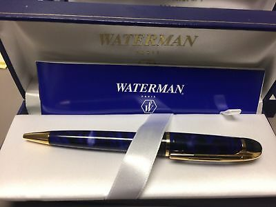 Waterman Phileas  Marble Blue  & Gold Trim   Ballpoint Pen   In Box  **