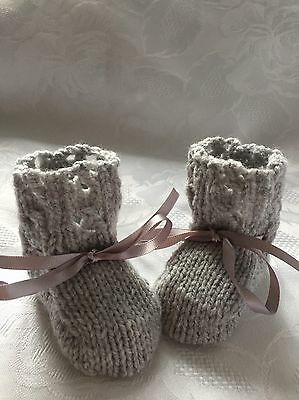 NEW Hand knitted  Unisex Grey Baby  Booties Fits 0 - 3 Months