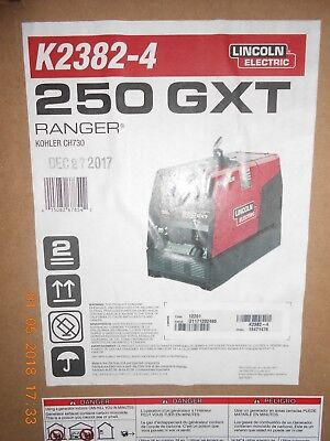 Lincoln RANGER 250 GXT K2382-4 with EFP BRAND NEW IN BOX & Heavy Duty Cover