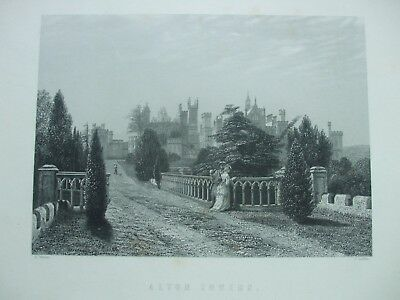 Antique Print C1800's Alton Towers Staffordshire Engraving Picture Etching Art