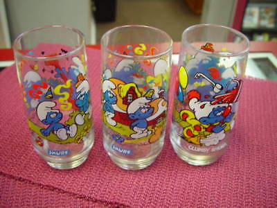 1983 3 pc set of Smurf character glasses + 1977 Richie glass
