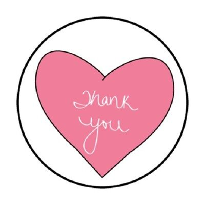 Thank You Envelope Seals Stickers Heart Pink Cute Drawing Matte 1.2 In Round