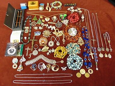 Lot of 70+ Antique & Vintage Collectible Costume Jewelry Pins Necklaces Mixed