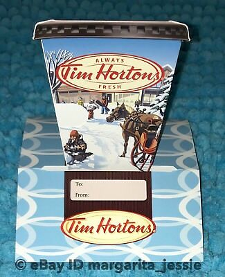 Tim Hortons Pop Up Paper Cup Gift Card Holder Christmas 2013 Horse/snowboard Htf