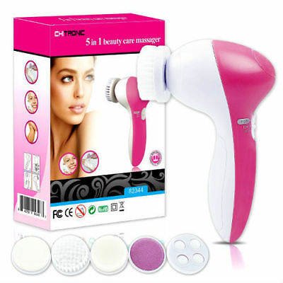 Uk 5 In 1 Skin Care Massager - Beauty Face Wash Scrubber Electric Cleanser Brush