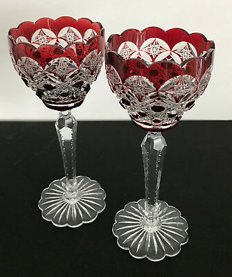 2 Val St Lambert Ruby Cased & Cut To Clear Crystal Wine Goblet Lace Foot & Rim