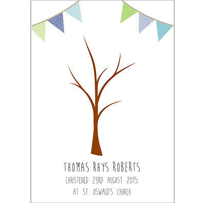 Christening or Wedding Fingerprint Tree - Bunting A4