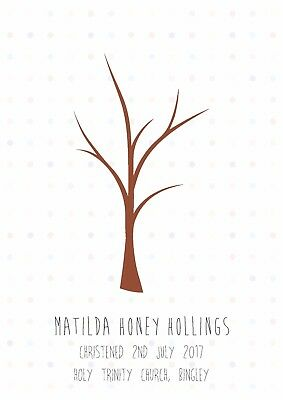 Christening or Wedding Fingerprint Tree - Polka Dots A4