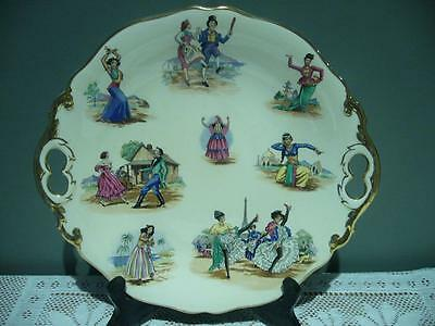 Royal Winton Two Handled Cake Plate - National Dances - Vintage - England - Gc
