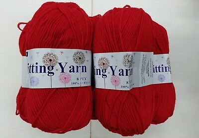 5x100g red Coloured knitting yarn 8 ply 100% Acrylic
