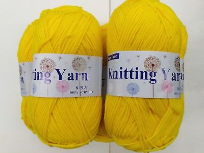 5x100g Yellow Coloured knitting yarn 8 ply 100% Acrylic