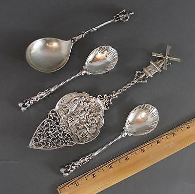 Antique Hallmarked German Dutch Silver Serving Flatware Cake Server Spoons