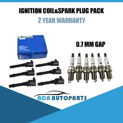 For FORD BA BF FALCON XR6 TERRITORY IGNITION COILS 0.7mm SPARK PLUGS AGSP22YE07
