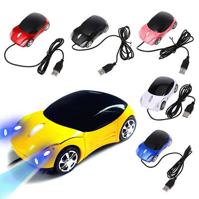 USB Wired Mouse 3D Car Shape Gaming Mice with LED Light for Laptop PC Macbook
