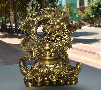 Lucky Chinese Fengshui Brass Wealth treasure bowl Success Dragon beast statue