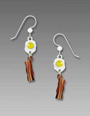 Sienna Sky Earrings 925 Sterling Silver Hook Handpainted Bacon and Eggs Handmade
