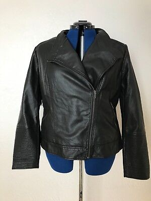 Aglow Women's Faux Leather Jacket Moto XXL Maternity  Black adjustable 2xl $80