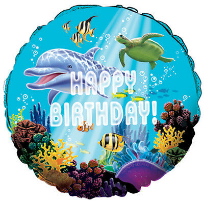 Ocean Party Happy Birthday Foil Balloon Decoration Turtle Fish Under The Sea