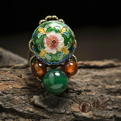 Chinese antique Cloisonne flower GREEN & RED agate copper Adjustable ring