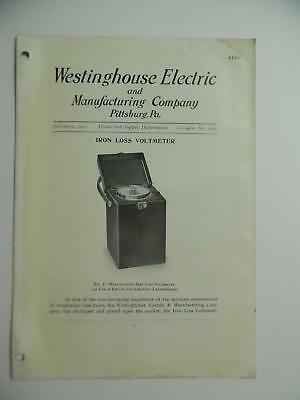 1910 Westinghouse Electric Iron Loss Voltmeter Instrument Catalog Antique ORIG