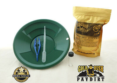 OFFICIAL GOLD RUSH PAYDIRT, GOLD and COPPER PANNING KIT, REAL GOLD GUARANTEE