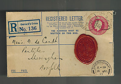1927 Sheringham England Registered Cover Westminster Bank Red Wax Seal to Norfol