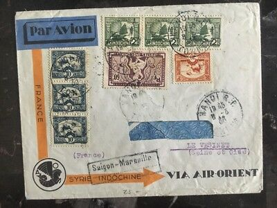 1933 Saigon French Indochina Airmail Cover To Le Vesinete France Via Air Orient