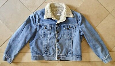 8e840b57 VINTAGE LEE DENIM SHERPA JACKET 70s COUNTRY WEAR STORM RIDER 48R UNISEX  SMALL