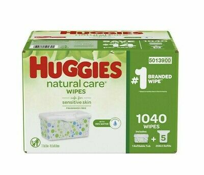 Huggies Natural Care Plus Baby Wipes 1040 count, Fragrance & Alcohol  Free 1 BOX