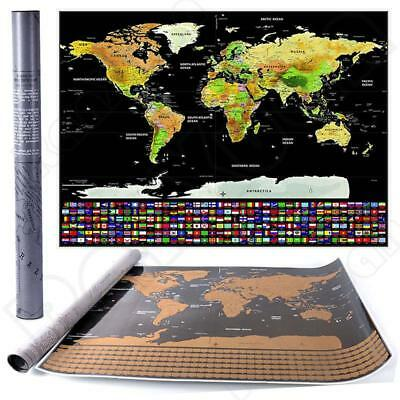Big Deluxe Travel Edition Scratch Off World Map Poster Gift Present Wall Decor