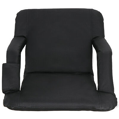 Wide Stadium Seat Chair Black Bleachers or Benches - Armrest Support - Portable