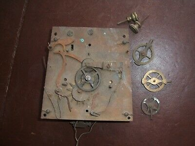 Antique Double Weight Vienna Regulator Wall Clock Movement & Pulleys
