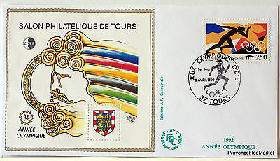 France Tours Olympic 1992 Bloc Sheet Cnep On Letter N°15 Fdc