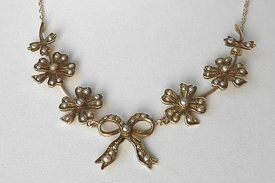 Antique Victorian 14K Shamrock 4 Leaf Clover+Bow Seed Pearl Lavalier Necklace