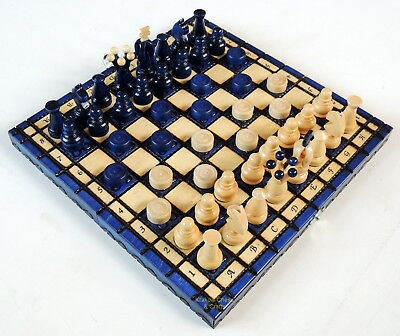 Brand New Blue Kingdom Travel Chess And Draughts Set 28Cm / 11 Inches